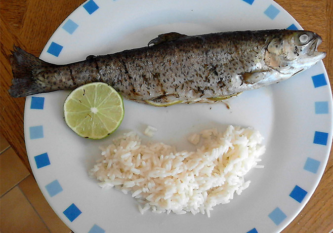 Grilled trout with thyme and fresh lime